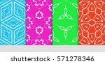 set of original floral  linear... | Shutterstock .eps vector #571278346