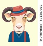 portrait of sheep in a sweater...   Shutterstock .eps vector #571307092