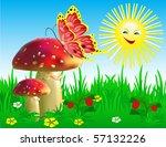Summer Landscape With Mushroom...