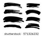 set of black paint  ink brush... | Shutterstock .eps vector #571326232