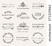 hand drawn logo templates in... | Shutterstock .eps vector #571329862
