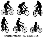 bicyclists silhouettes set  ... | Shutterstock .eps vector #571331815