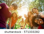 students friends taking selfie... | Shutterstock . vector #571333282