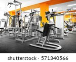 gym interior with equipment | Shutterstock . vector #571340566