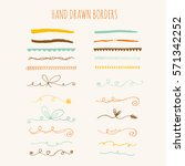 collection of hand drawn ink... | Shutterstock .eps vector #571342252