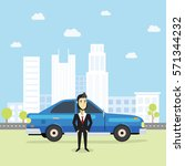 young business man in front of... | Shutterstock .eps vector #571344232