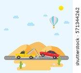 tow truck towing a sedan car... | Shutterstock .eps vector #571344262