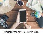 overhead view of traveler's... | Shutterstock . vector #571345936