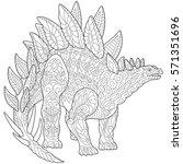 stylized stegosaurus dinosaur... | Shutterstock .eps vector #571351696