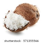 coconut with coconut flakes... | Shutterstock . vector #571355566