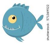cute cartoon piranha with sharp ... | Shutterstock .eps vector #571369522