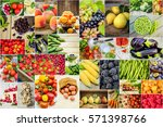 collage of fruits and... | Shutterstock . vector #571398766