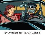 robot autopilot car  woman...
