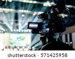 tv camera in a concert hall. | Shutterstock . vector #571425958
