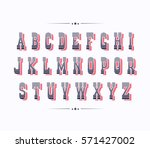 serif bold two color retro font ... | Shutterstock .eps vector #571427002