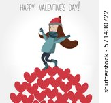 happy valentine's day card.... | Shutterstock .eps vector #571430722