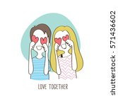 happy couple holding hearts ... | Shutterstock .eps vector #571436602