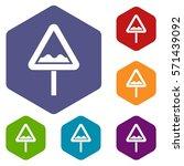 uneven triangular road sign... | Shutterstock .eps vector #571439092