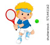 Young Boy Playing Tennis With ...