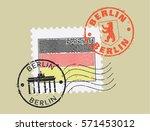 postal stamp symbols 'berlin... | Shutterstock .eps vector #571453012