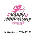 happy anniversary. label with... | Shutterstock .eps vector #571453972