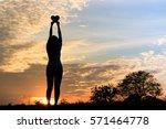 silhouette of women hands... | Shutterstock . vector #571464778