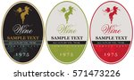 set wine labels with bunch of... | Shutterstock .eps vector #571473226