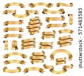 golden ribbon banners design... | Shutterstock .eps vector #571483585