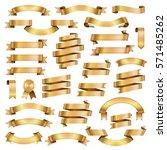 golden ribbon banners design... | Shutterstock . vector #571485262