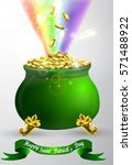 st patricks day green pot with... | Shutterstock .eps vector #571488922