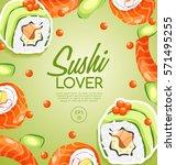 sushi rolls elements   vector... | Shutterstock .eps vector #571495255