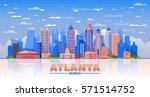 atlanta  georgia   city skyline ... | Shutterstock .eps vector #571514752