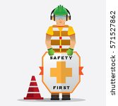 construction worker standing... | Shutterstock .eps vector #571527862