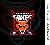 fox head mascot for a hockey...   Shutterstock .eps vector #571533796