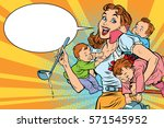 cheerful mother with three... | Shutterstock .eps vector #571545952