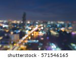 Aerial View City Blurred Light...