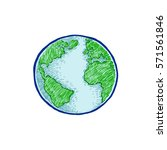 earth icon hand drawn on white... | Shutterstock .eps vector #571561846