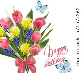 happy birthday card with with... | Shutterstock .eps vector #571575262