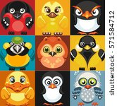 set of vector icons of birds.... | Shutterstock .eps vector #571584712