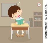 student boy sleeping in... | Shutterstock .eps vector #571586776