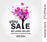 spring sale banner with ... | Shutterstock .eps vector #571595626