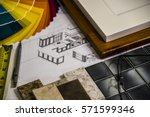 kitchen renovation material... | Shutterstock . vector #571599346
