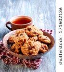 muesli crunchy cookies on table ... | Shutterstock . vector #571602136