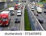 six lane controlled access... | Shutterstock . vector #571605892