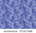 seamless ornament with flowers... | Shutterstock .eps vector #571617688