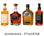 alcohol bottles set isolated on ... | Shutterstock .eps vector #571618768