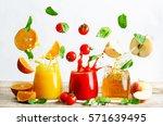 Set Of Juices  Orange  Tomato...