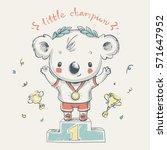 Cute Koala Bear Sports Champio...