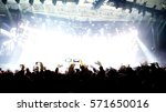 crowd silhouettes clapping and...   Shutterstock . vector #571650016