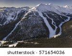 ski slopes above temple lodge...   Shutterstock . vector #571654036
